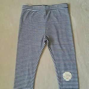 Navy Striped Leggings NWT